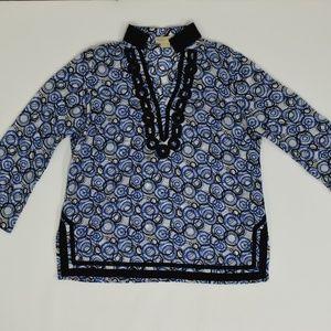 Michael Kors Plus 1X Blue   Blouse Cotton Solid